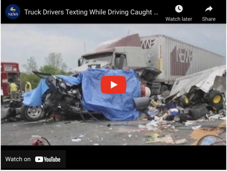 Screenshot of youtube video containing wrecked semi