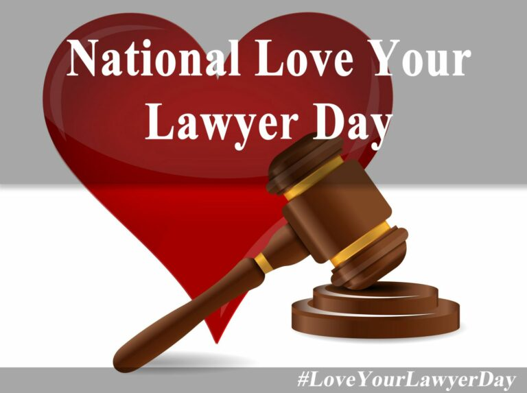 National love Your lawyer day graphic with a heart and judge's gavel.
