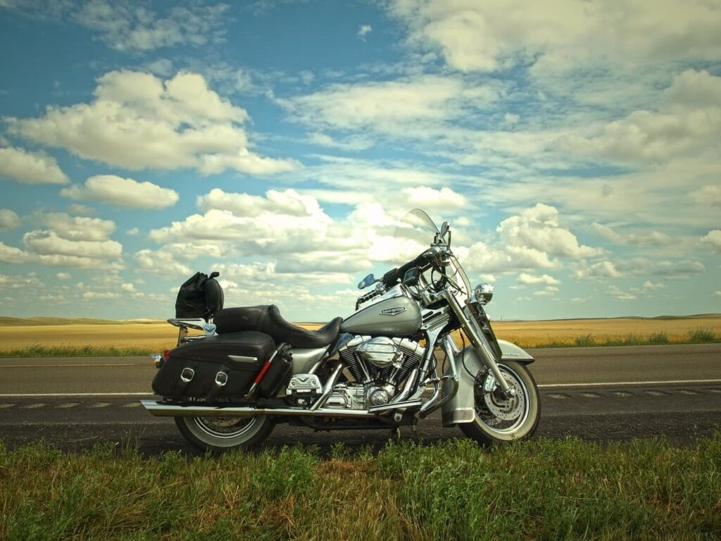 Motorcycle in front of blue sky