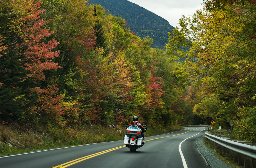Motorcycle driving on the road on the White Mountains