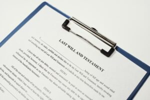 A photo of a last will and testament ready to be filled out. If someone leaves behind a will, it could complicate filing a wrongful death lawsuit.