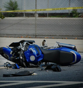 Motorcycle on side of road after accident