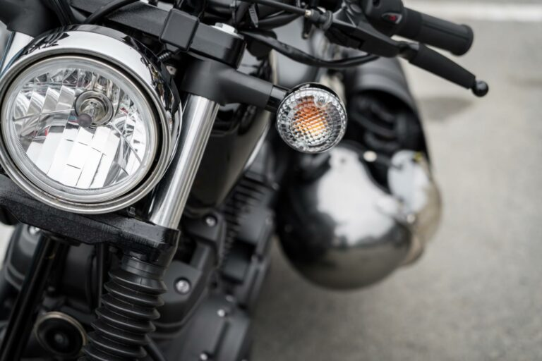 front end and headlight of motorcycle