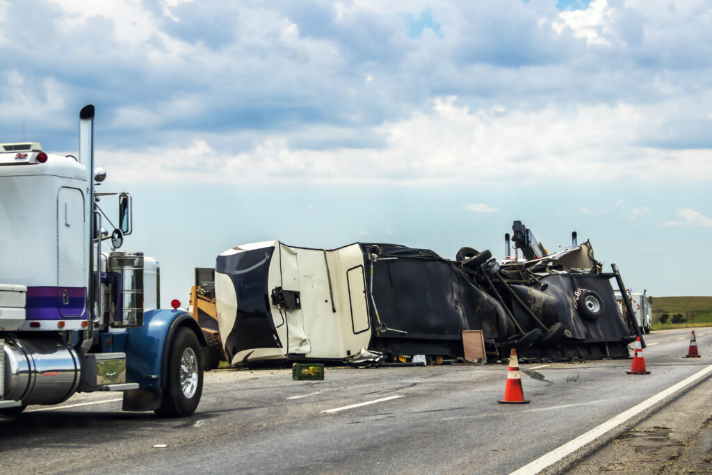 Truck flipped over after accident