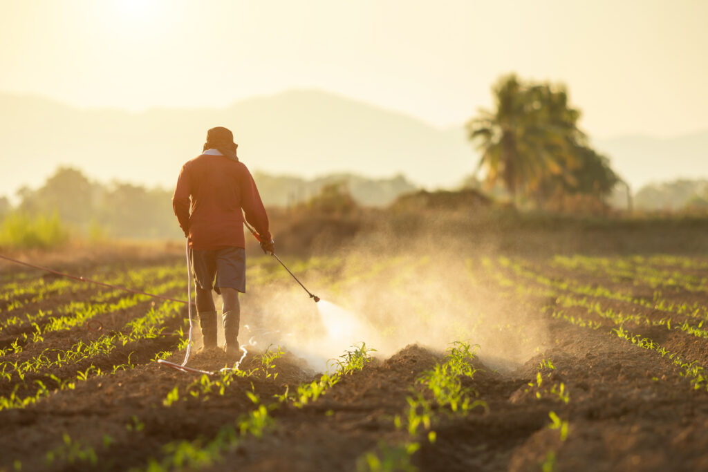 A farm worker sprays crops with herbicide.
