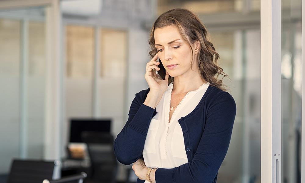 Woman making phone call.